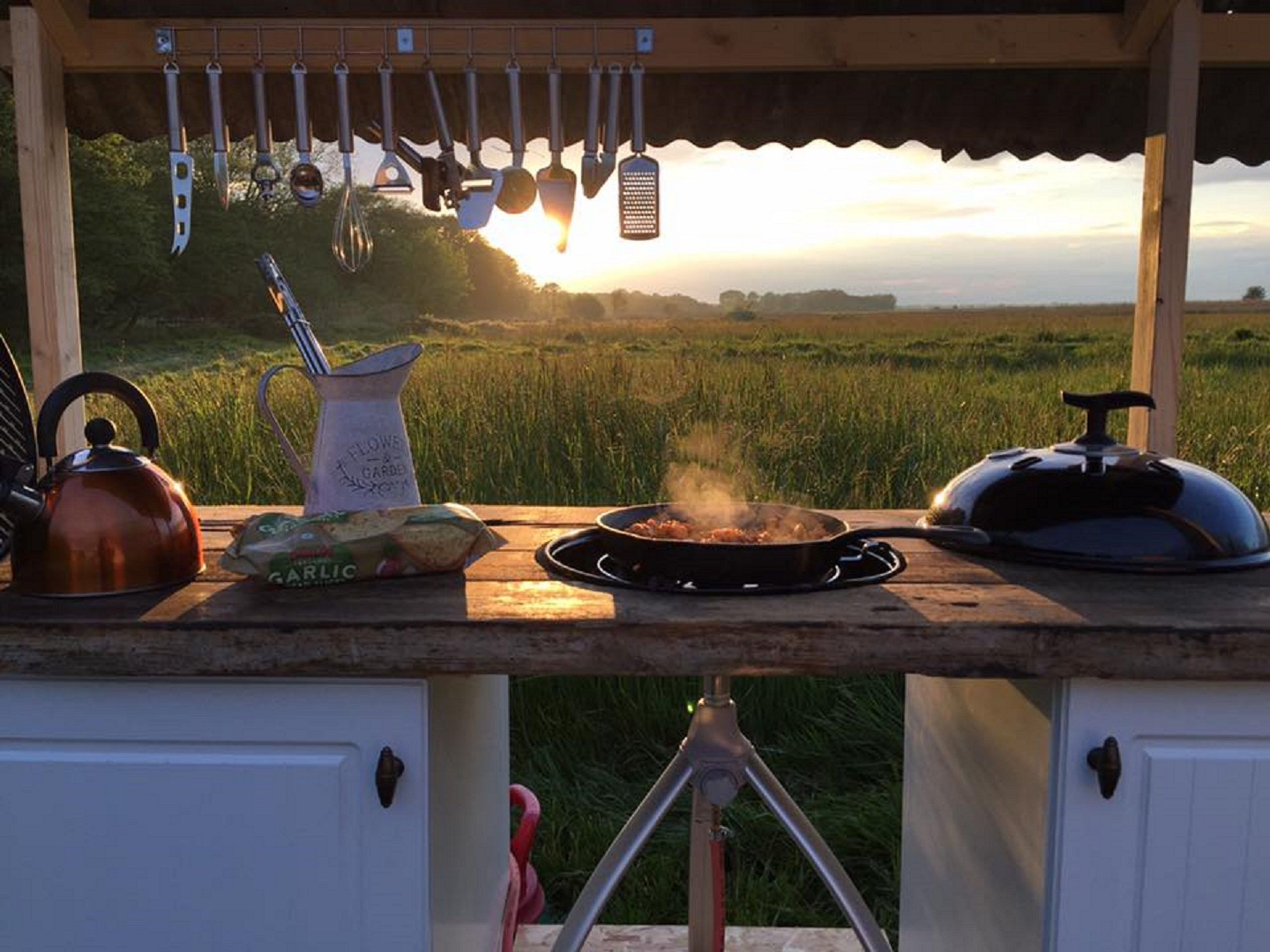 brambells glamping marshview outdoor kitchen luxury camping breakfast