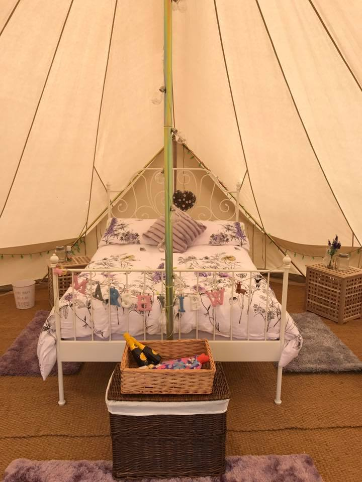 brambells glamping marsh view lotus belle tent comfortable interior luxury camping